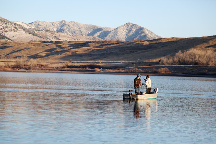 Fly fishing is a popular type of fishing on Arvada Reservoir.
