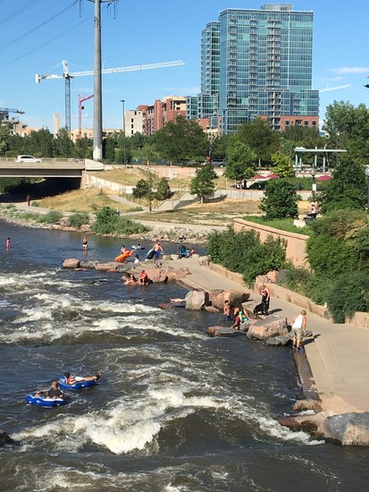 Visitors enjoy a Sunday afternoon at the confluence of Cherry Creek and the South Platte River.