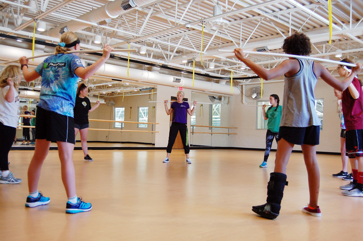 Parker teens learn a new workout under the instruction of personal trainer Sara Galster.