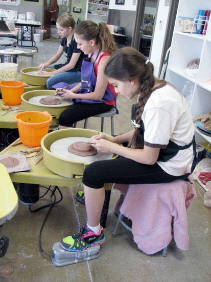 Pottery students create projects in the studio at the Southridge Recreation Center in Highlands Ranch.
