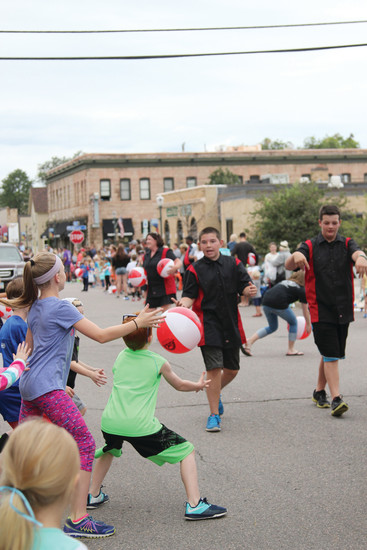 Among the treats thrown to the crowds at the Castle Rock parade were candy, water and beach balls.