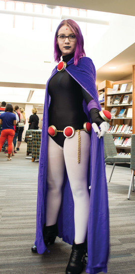 "Emily Munch poses as Raven from the show ""Teen Titans Go!"" at Koelbel Con."