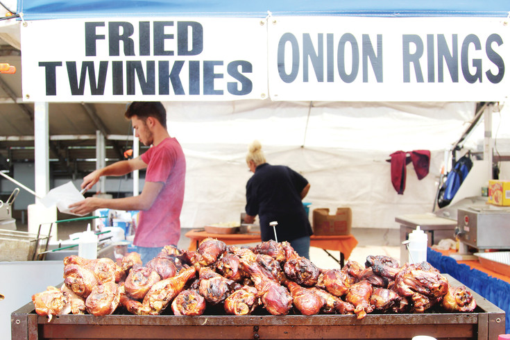 Stock of ready-to-serve turkey legs, a popular snack item at the Douglas County Fair and Rodeo, never wained on Aug. 5.
