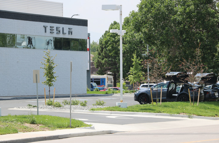 Tesla occupies the corner where Schomp BMW was once located. The dealership opened a showroom and service center at 5700 South Broadway in Littleton on July 28.