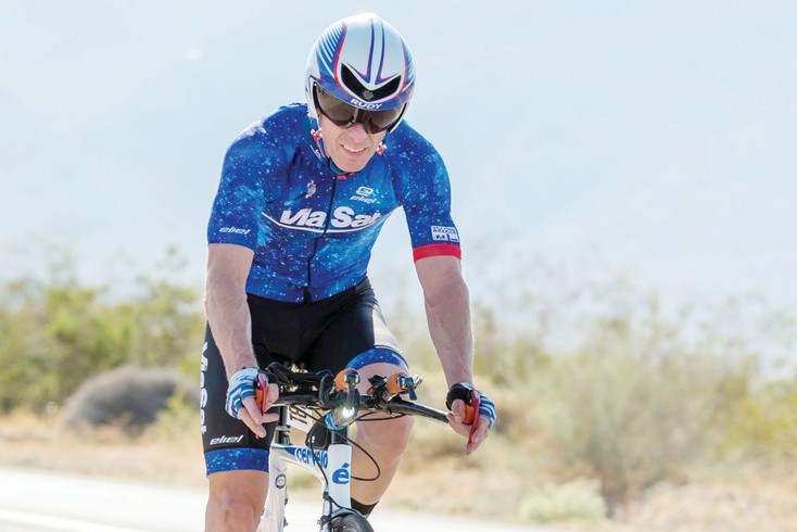 Erik Clark pedals his way across the country during the Race Across America in July. The race spans 12 states and 3,070 miles from California to Maryland. Clark says the hardest part of the course was a desert near Borrego Springs, California.