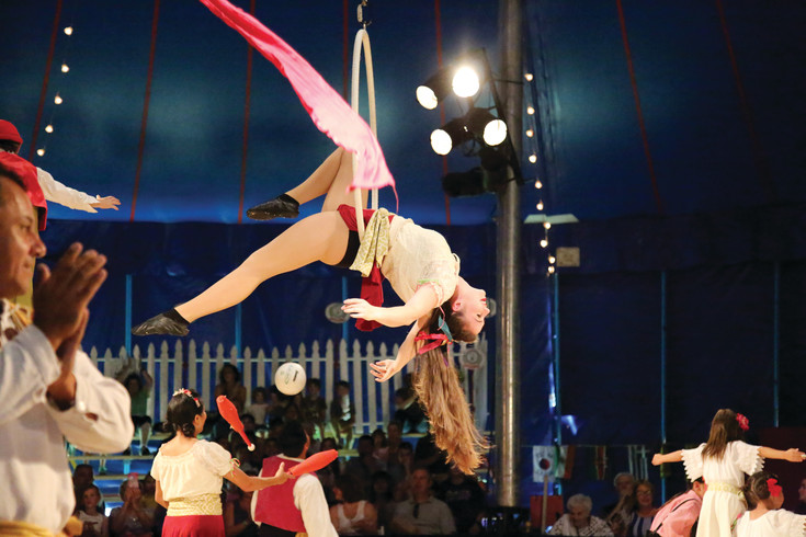 The Zoppè Family Circus includes a variety of family friendly acts including acrobatics.