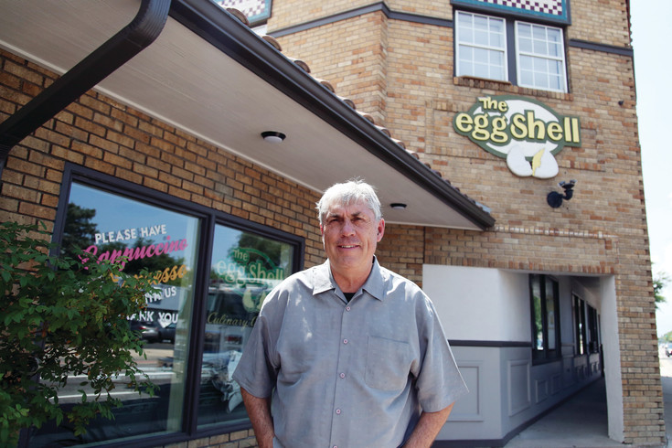 Jay Soneff, owner of The Eggshell in Arvada, stands in front of his eatery that was a staple in Olde Town Arvada for 30 years.