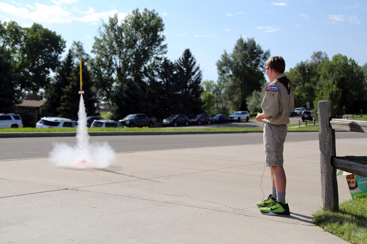 Garrett Bainbridge, fifth-grader at Van Arsdale Elementary, launches the traditional first-day-of-school rocket before classes began Aug. 17.