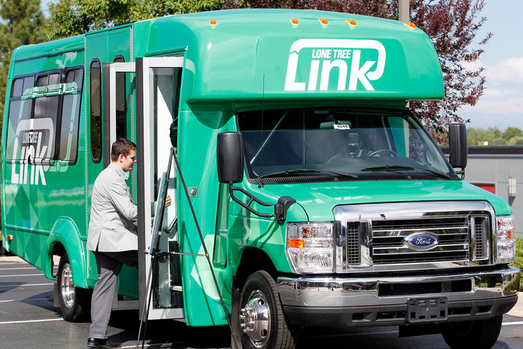 A Lone Tree city employee embarks on a test tour of the Lone Tree Link's new Link on Demand shuttle. The city is employing a previously unused bus to provide on-call rides within city limits to relieve traffic and provide a transportation option for those who can't or choose not to drive. Photo by Tom Skelley.