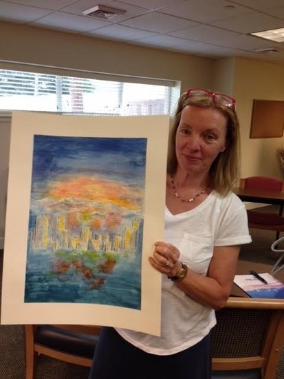 One of the artists, partaking in the Parkinson's art class