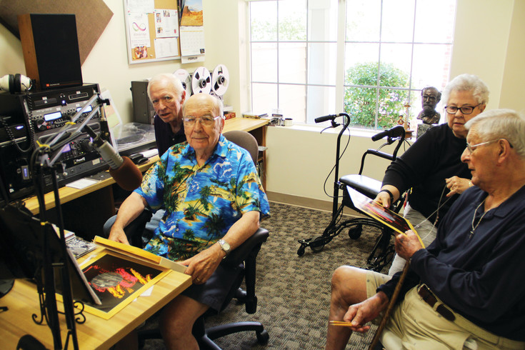 From left, Dick Gustafson, 82; Dan Parker, 86; Linda Platte, in her 80s; and Bob Strong, who is in his 90s, in the radio room at Holly Creek Retirement Community Aug. 11. Gustafson, a former DJ for radio stations in Vail and Minturn, founded the radio station at Holly Creek, which is broadcast in-house to the residents of the community.