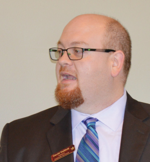 Westminster City Council candidate David Demott speaks at the Jeff-West Community Forum Aug. 25.