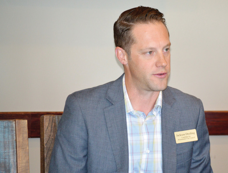 Westminster City Council Candidates_bfast_Jackson Dreiling speaks at the Jeff-West Community Forum Aug. 25.