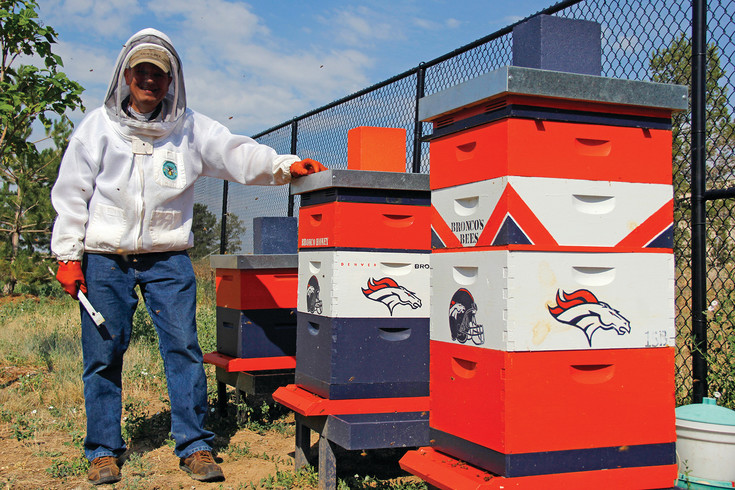 Beekeeper Joe Komperda stands beside the beehives he keeps behind the fieldhouse at the Denver Broncos Dove Valley training facility. Komperda's wife Debbie decorated the hives to fit in with the surroundings at the compound.