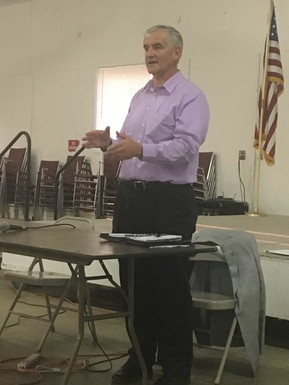 Forsgren Division Manager Will Koger speaks to 50 attendees at the water study meeting Aug. 29 at the Elbert County Fairgrounds.