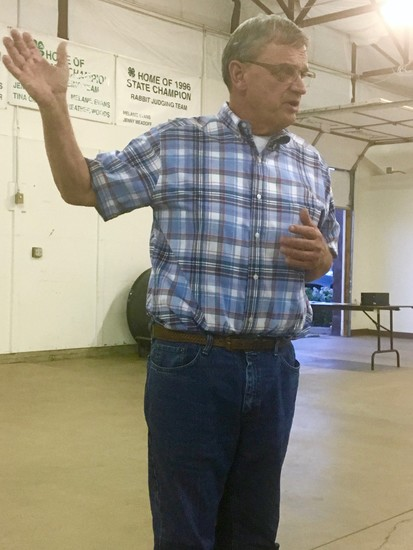 Elbert County Commissioner Grant Thayer responds to questions from citizens at the Aug. 29 county water study meeting.