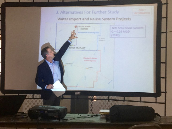 Leif Lindahl with Forsgren Associates presents data from the water study that indicated potential reuse systems for Elbert County in the future.