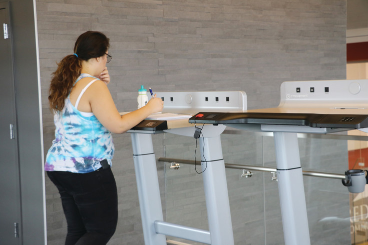 One of the latest tech exercise devices students at Red Rocks Community College can use in the new recreation center is a treadmill desk that allows the user to work while getting exercise.