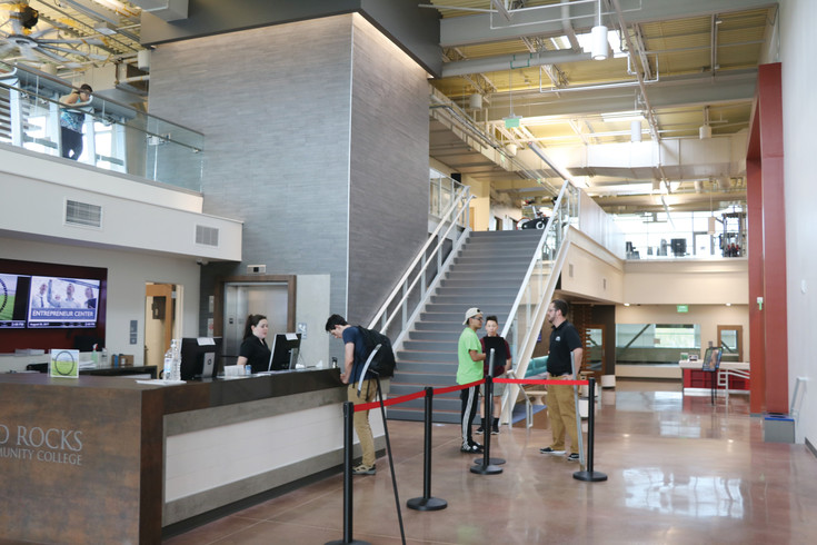 Red Rocks Community College's new student recreation center finally opened in the late summer with high tech exercise equipment and a climbing and bouldering wall.