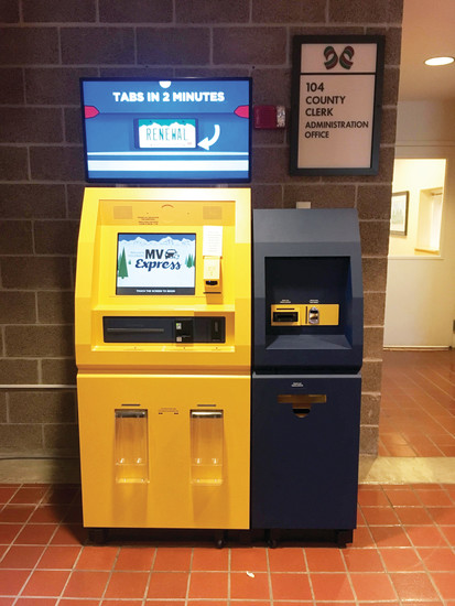 Self-service kiosks at the DMV now allow users to renew vehicle registration in two minutes.