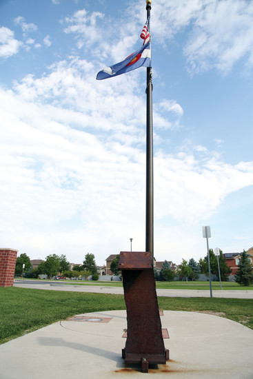 The steel from the World Trade Center currently sits out front Arvada Fire Station 2.