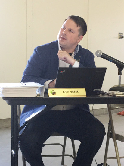 Elbert County lawyer Bart Greer is called upon to clarify legal concerns during the Independence hearing. Photo by Jodi Horner