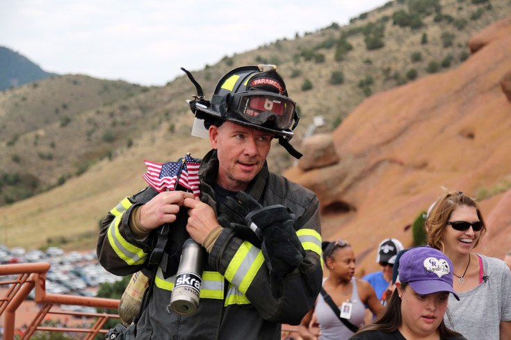 John Zeising, of the Red, White and Blue Fire Protection District in Breckenridge, was one of 2,000 climbers representing 60 fire departments at the ninth annual Colorado 9/11 Stair Climb.