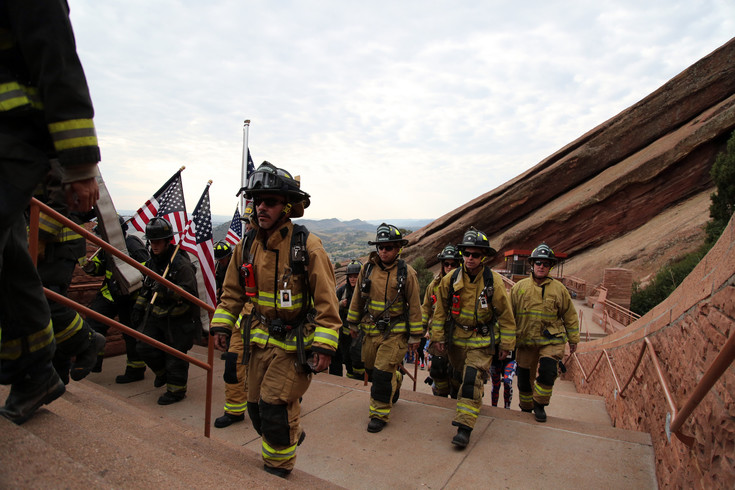 Evergreen Fire Rescue was one of 60 fire departments to participate in the memorial stair climb at Red Rocks Monday morning.