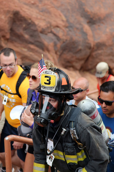 Many climbers chose to wear full gear as a tribute to their fallen firefighter brethren.