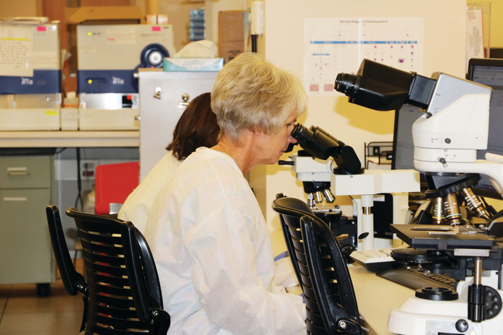 Staff at St. Anthony Hospital's laboratory work on thousands of samples a day, not only for patients at that hospital, but from facilities all over the Centura system.