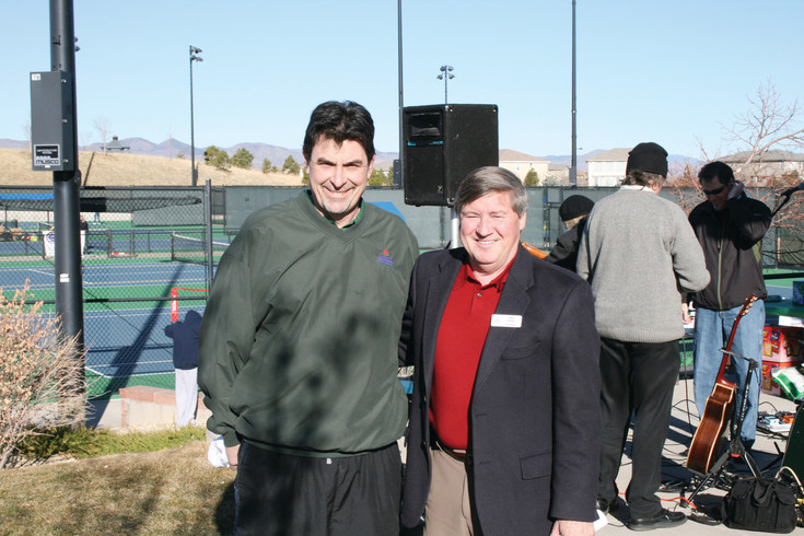 Bruce Lebsack, left, and Highlands Ranch Metro District board member Allen Dreher at the Lebsack Tennis Center dedication at Redstone Park in 2009. Lebsack recently resigned after 37 years as the director of finance of the metro district and Centennial Water and Sanitation District.