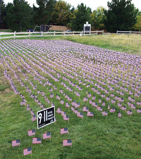 Young Americans for Freedom placed 2,977 American flags on a lawn near Highlands Ranch High School, at the corner of University Boulevard and  Cresthill Lane. The flags represent the victims of the 9/11 attack.