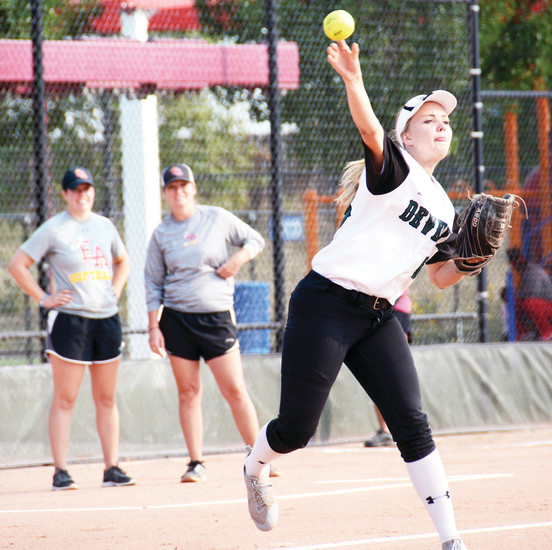 D'Evelyn junior Kate Fuhr throws from her third base position during the Jaguars' opener of the Dave Sanders Memorial Softball Tournament on Sept. 8 at Aurora Sports Park.