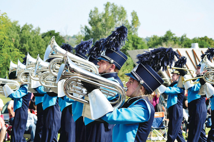 The Ralston Valley Marching Band plays in the Arvada Harvest Festival Parade.