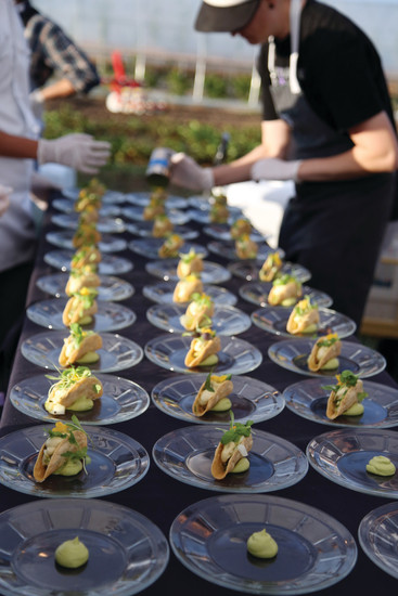 The cucumber tart was the first in seven courses, each one prepared by a different chef.