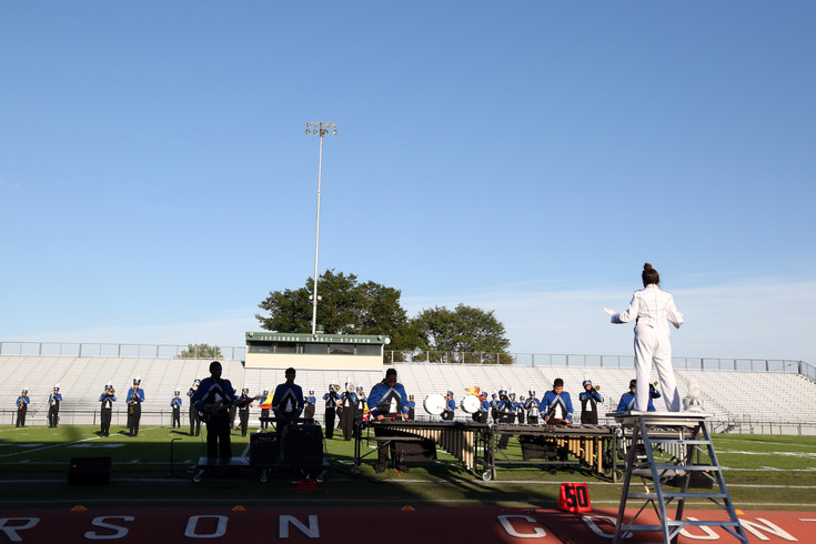 Drum Major Wendy Bordallo leads the Alameda band Sept. 19.