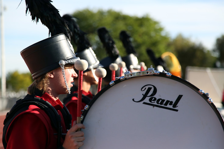 Cooper Watkins, of the Arvada High marching band waits to take the field at the Jeffco Marching Band Festival Sept. 19.