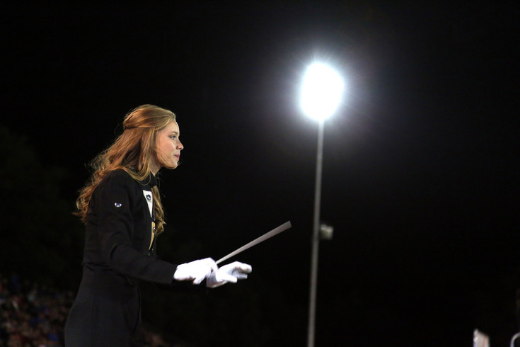 Drum Major Alyssa Banister leads the Bear Creek band Sept. 19 in their first competition of the season.