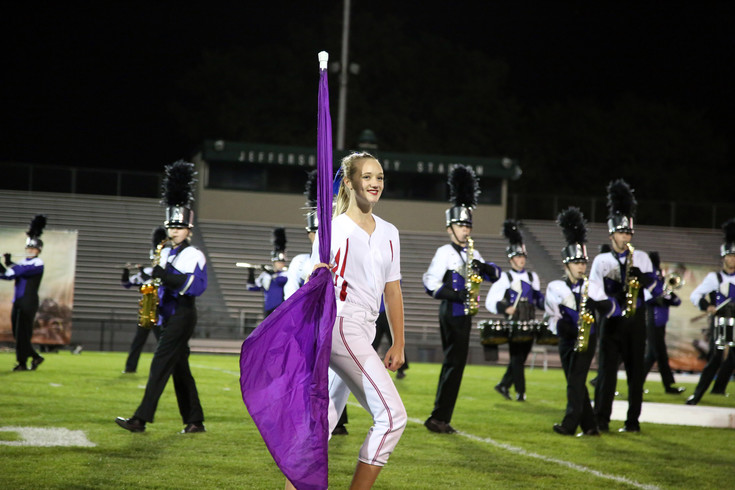 Shailey Symbol performs with the Arvada West High marching band.