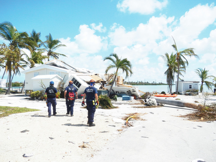 In Florida, members of Colorado Task Force 1 scour homes and structures damaged by Hurricane Irma to assess the general safety of the area and identify survivors in need of medical services or food and water. COURTESY PHOTO