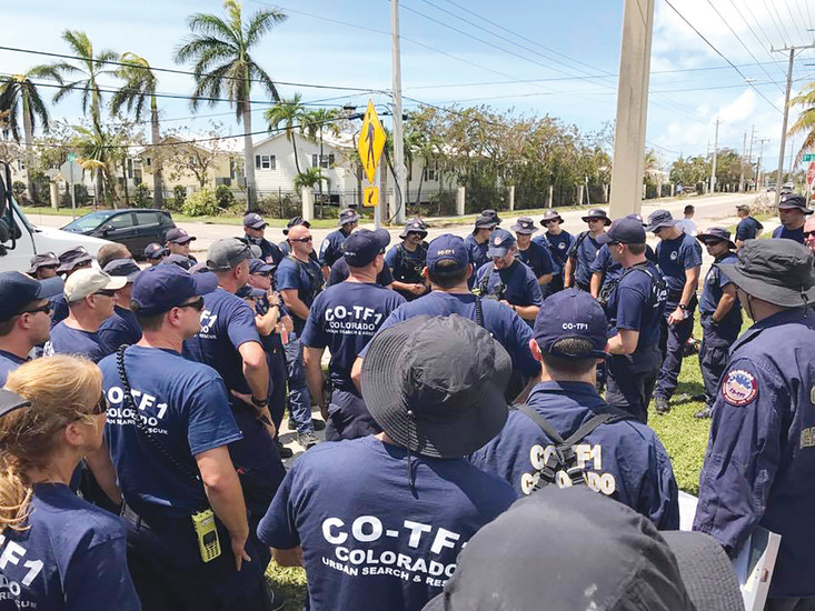 Members of the Colorado Task Force 1 assemble in the Florida Keys to perform search and rescue operations after Hurricane Irma. Crews indentified citizens in need of medical assistance and food and water, using boats they brought with them to reach the small islands.