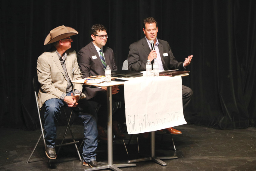 Randy Mills, left, Ryan Abresch and Grant Nelson, three members of the Elevate Douglas County slate, speak at the first forum hosted by Highlands Ranch High School on Sept. 26. Debora Scheffel, also a member of Elevate, was traveling for work.
