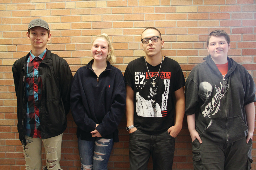 From left, Roger Nunez, Remi Trauernicht, Brice Archuleta and Jaden McCorkle, students at Colorado's Finest High School of Choice, an alternative school in Englewood, Sept. 19. Policies at Colorado's Finest help him stay on track, Nunez said.
