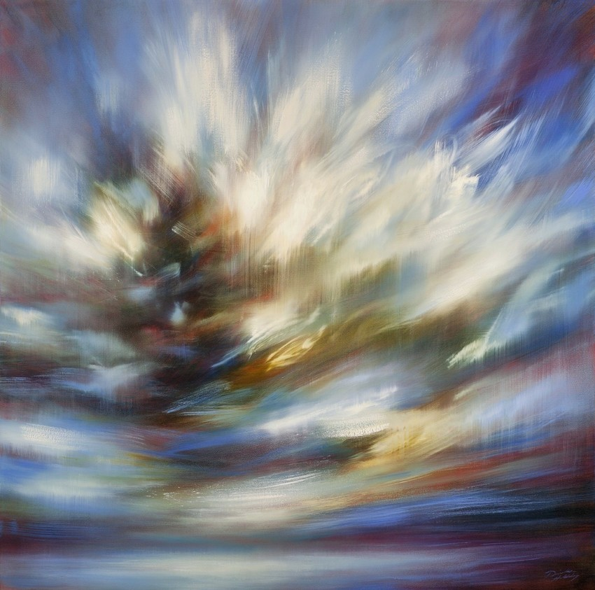 """Restless"" is a 48"" x 48"" oil-on-canvas painting inspired by recently arrived resident/painter Danielle Hatherley's discovery of Colorado's skies and quality of light."