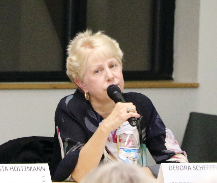 Debora Scheffel, Douglas County School Board candidate running for District G against Krista Holtzmann, speaks at a forum hosted by League of Women Voters of Arapahoe and Douglas Counties on Oct. 3 at Lone Tree Hub, 8827 Lone Tree Pkwy.
