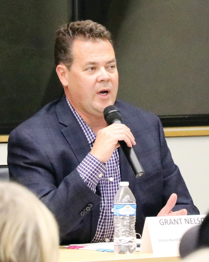 Grant Nelson, Douglas County School Board candidate running for District E against Kevin Leung, speaks at a forum hosted by League of Women Voters of Arapahoe and Douglas Counties on Oct. 3 at Lone Tree Hub, 8827 Lone Tree Pkwy.