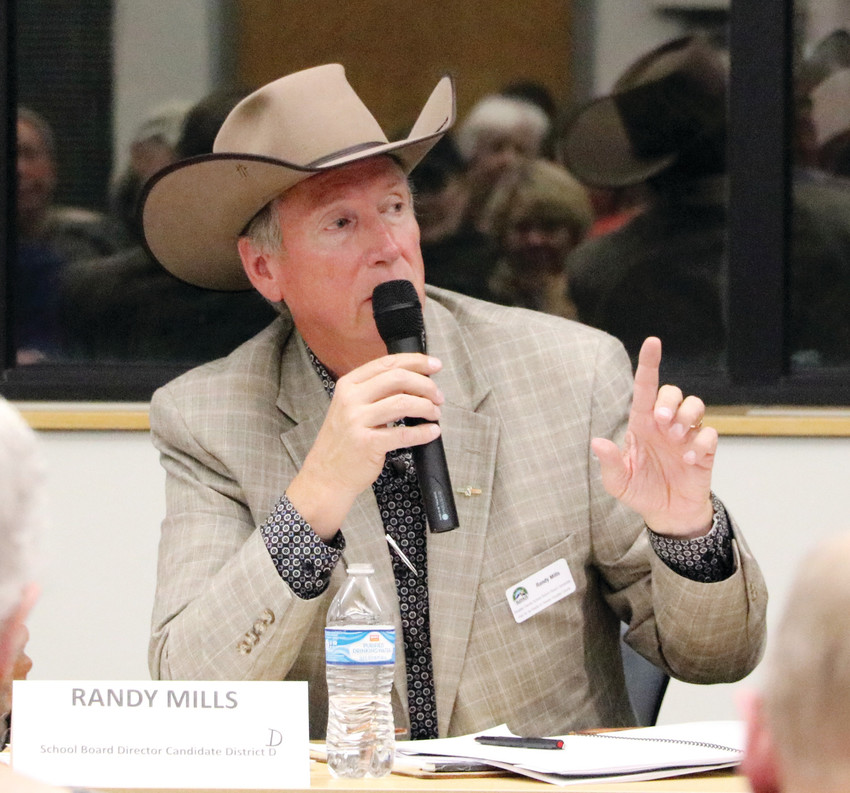 Randy Mills, Douglas County School Board candidate running for District D against Chris Schor, speaks at a forum hosted by League of Women Voters of Arapahoe and Douglas Counties on Oct. 3 at Lone Tree Hub, 8827 Lone Tree Pkwy.