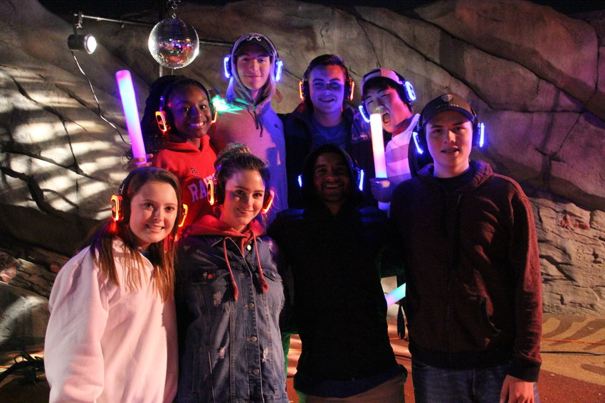 Left to right, top: Centennial Youth Commission members Lindsey Glenn, 15; Jackson Daichendt, 15; Brett Swedlund, 17; Paul Pak, 16; and left to right, bottom: Audrey Fischer, 17; Maddie Mercier, 18; Delwin Maben, 16; and Logan Hilzer, 16, stand on the dance floor.
