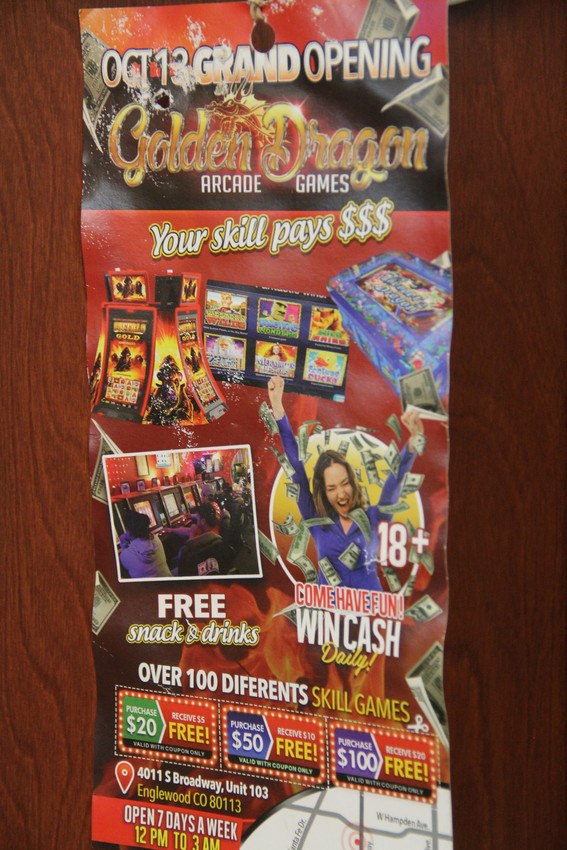 An advertisement for Golden Dragon Arcade Games, Oct. 12. The business was slated to open Oct. 13.