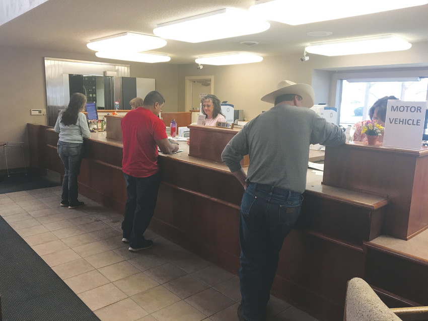 The department of motor vehicles opened their offices Oct. 10 at the new Samuel Elbert Building in Kiowa, where citizens can renew tabs inside or at a drive-through window.